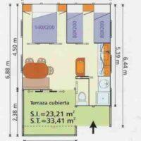 Camping Prados Abiertos en Gredos plano bungalow Club 5G